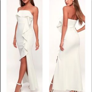 Aquarius White Strapless Ruffled Maxi Dress Lulus